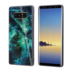 Luxury Starry Sky Tempered Glass Hard Back Cover with Silicone Bumper for Samsung Galaxy Note 8 - Green