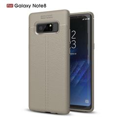 Luxury Auto Focus Litchi Texture Silicone TPU Back Cover for Samsung Galaxy Note 8 - Gray