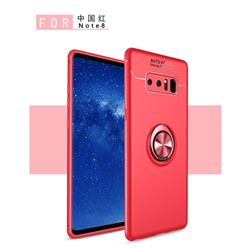 Auto Focus Invisible Ring Holder Soft Phone Case for Samsung Galaxy Note 8 - Red