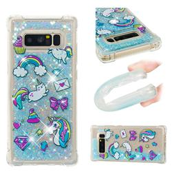 Fashion Unicorn Dynamic Liquid Glitter Sand Quicksand Star TPU Case for Samsung Galaxy Note 8