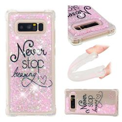 Never Stop Dreaming Dynamic Liquid Glitter Sand Quicksand Star TPU Case for Samsung Galaxy Note 8