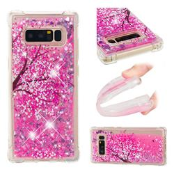 Pink Cherry Blossom Dynamic Liquid Glitter Sand Quicksand Star TPU Case for Samsung Galaxy Note 8