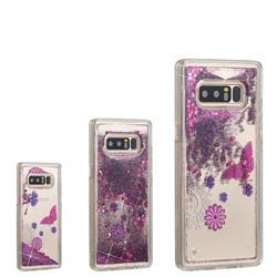 Purple Flower Butterfly Dynamic Liquid Glitter Quicksand Soft TPU Case for Samsung Galaxy Note 8
