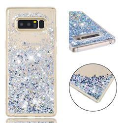 Dynamic Liquid Glitter Quicksand Sequins TPU Phone Case for Samsung Galaxy Note 8 - Silver