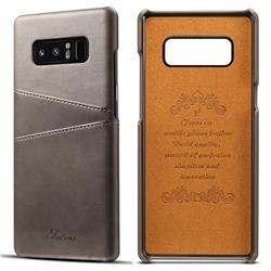 Suteni Retro Classic Card Slots Calf Leather Coated Back Cover for Samsung Galaxy Note 8 - Gray