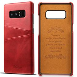 Suteni Retro Classic Card Slots Calf Leather Coated Back Cover for Samsung Galaxy Note 8 - Red