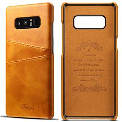 Suteni Retro Classic Card Slots Calf Leather Coated Back Cover for Samsung Galaxy Note 8 - Khaki