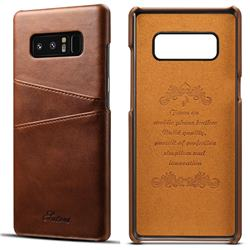 Suteni Retro Classic Card Slots Calf Leather Coated Back Cover for Samsung Galaxy Note 8 - Brown