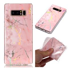 Powder Pink Marble Pattern Bright Color Laser Soft TPU Case for Samsung Galaxy Note 8