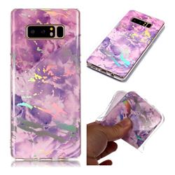 Purple Marble Pattern Bright Color Laser Soft TPU Case for Samsung Galaxy Note 8