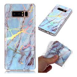 Light Blue Marble Pattern Bright Color Laser Soft TPU Case for Samsung Galaxy Note 8