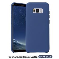 Howmak Slim Liquid Silicone Rubber Shockproof Phone Case Cover for Samsung Galaxy Note 8 - Midnight Blue
