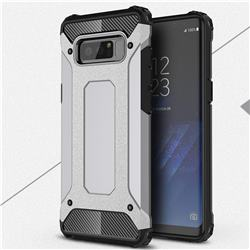 King Kong Armor Premium Shockproof Dual Layer Rugged Hard Cover for Samsung Galaxy Note 8 - Silver Grey