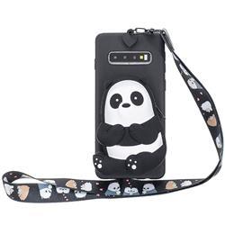 Cute Panda Neck Lanyard Zipper Wallet Silicone Case for Samsung Galaxy Note 8