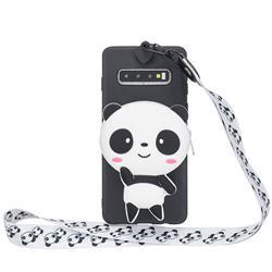 White Panda Neck Lanyard Zipper Wallet Silicone Case for Samsung Galaxy Note 8