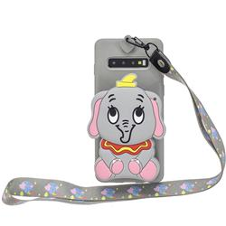 Gray Elephant Neck Lanyard Zipper Wallet Silicone Case for Samsung Galaxy Note 8
