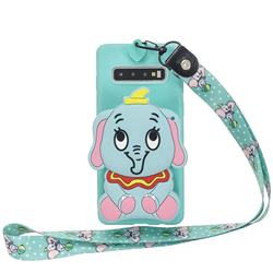 Blue Elephant Neck Lanyard Zipper Wallet Silicone Case for Samsung Galaxy Note 8