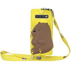 Yellow Bear Neck Lanyard Zipper Wallet Silicone Case for Samsung Galaxy Note 8