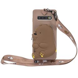 Brown Bear Neck Lanyard Zipper Wallet Silicone Case for Samsung Galaxy Note 8