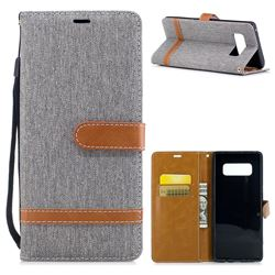 Jeans Cowboy Denim Leather Wallet Case for Samsung Galaxy Note 8 - Gray