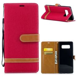 Jeans Cowboy Denim Leather Wallet Case for Samsung Galaxy Note 8 - Red