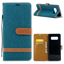 Jeans Cowboy Denim Leather Wallet Case for Samsung Galaxy Note 8 - Green