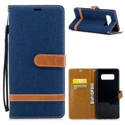 Jeans Cowboy Denim Leather Wallet Case for Samsung Galaxy Note 8 - Dark Blue