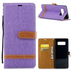 Jeans Cowboy Denim Leather Wallet Case for Samsung Galaxy Note 8 - Purple