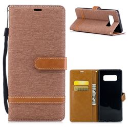 Jeans Cowboy Denim Leather Wallet Case for Samsung Galaxy Note 8 - Brown