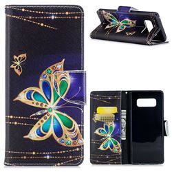 Golden Shining Butterfly Leather Wallet Case for Samsung Galaxy Note 8