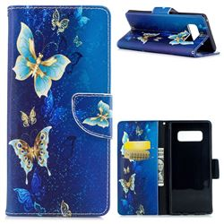 Golden Butterflies Leather Wallet Case for Samsung Galaxy Note 8