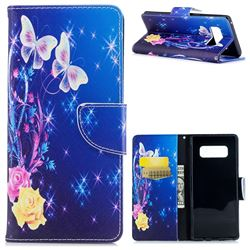 Yellow Flower Butterfly Leather Wallet Case for Samsung Galaxy Note 8