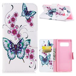 Peach Butterflies Leather Wallet Case for Samsung Galaxy Note 8
