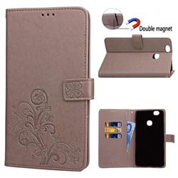 Embossing Imprint Four-Leaf Clover Leather Wallet Case for Samsung Galaxy Note 8 - Grey