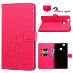 Embossing Imprint Four-Leaf Clover Leather Wallet Case for Samsung Galaxy Note 8 - Rose