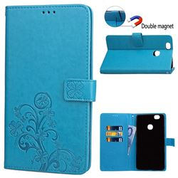 Embossing Imprint Four-Leaf Clover Leather Wallet Case for Samsung Galaxy Note 8 - Blue