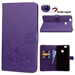Embossing Imprint Four-Leaf Clover Leather Wallet Case for Samsung Galaxy Note 8 - Purple