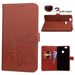 Embossing Imprint Four-Leaf Clover Leather Wallet Case for Samsung Galaxy Note 8 - Brown