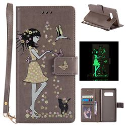 Luminous Flower Girl Cat Leather Wallet Case for Samsung Galaxy Note 8 - Gray