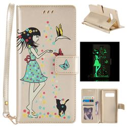 Luminous Flower Girl Cat Leather Wallet Case for Samsung Galaxy Note 8 - Champagne