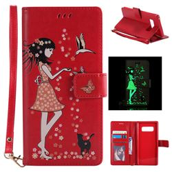 Luminous Flower Girl Cat Leather Wallet Case for Samsung Galaxy Note 8 - Red