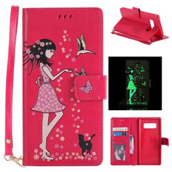 Luminous Flower Girl Cat Leather Wallet Case for Samsung Galaxy Note 8 - Rose