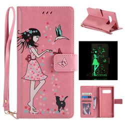 Luminous Flower Girl Cat Leather Wallet Case for Samsung Galaxy Note 8 - Hot Pink