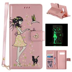 Luminous Flower Girl Cat Leather Wallet Case for Samsung Galaxy Note 8 - Light Pink