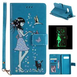 Luminous Flower Girl Cat Leather Wallet Case for Samsung Galaxy Note 8 - Blue