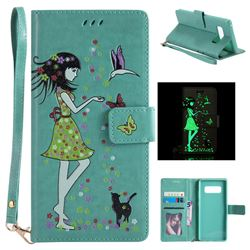 Luminous Flower Girl Cat Leather Wallet Case for Samsung Galaxy Note 8 - Green