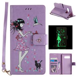 Luminous Flower Girl Cat Leather Wallet Case for Samsung Galaxy Note 8 - Purple