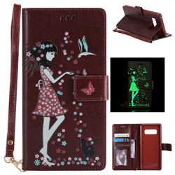 Luminous Flower Girl Cat Leather Wallet Case for Samsung Galaxy Note 8 - Brown