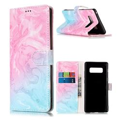 Pink Green Marble PU Leather Wallet Case for Samsung Galaxy Note 8