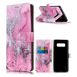 Pink Seawater PU Leather Wallet Case for Samsung Galaxy Note 8